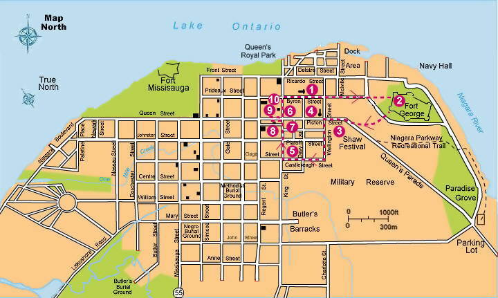 NiagaraontheLake Walking Tours Ghost Walk Map Niagara Falls – Niagara Falls Tourist Attractions Map